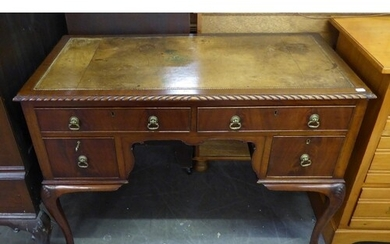 CHIPPENDALE STYLE CARVED MAHOGANY KNEEHOLE DESK WITH INLET L...