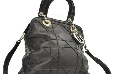 CHRISTIAN DIOR 'GRANVILLE' CANNAGE LEATHER HANDBAG