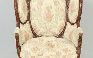 CONTINENTAL CARVED AND UPHOLSTERED WING CHAIR WITH PAIR BED STEPS...