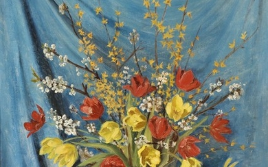 Carl Leopold Nielsen: Still life with yellow and red flowers in a glass vase. Signed with monogram and dated 1944. Oil on canvas. 121×95 cm.