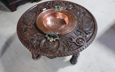 Carved walnut circular occasional table with Baronial type d...