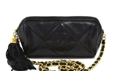 Chanel - Chanel Black Quilted Leather Barrel Shoulder Bag + Tassel Shoulder bag