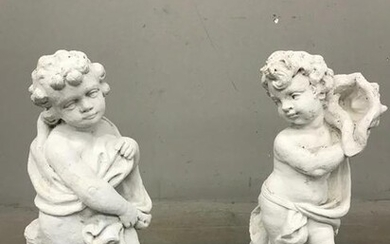 Cherub Painted Cement Statues