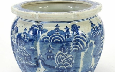 Chinese Blue and White Porcelain Fluted Planter.