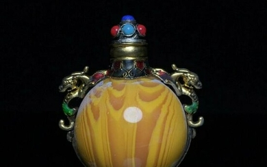 Chinese Copper Hand Made snuff bottle gems Dragon shape