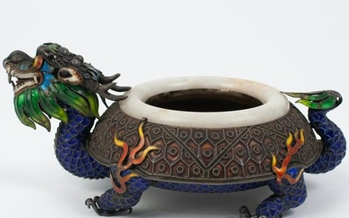 Chinese Enameled Silver Dragon Dish