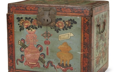 Chinese Export painted small chest mid-19th century The interior...