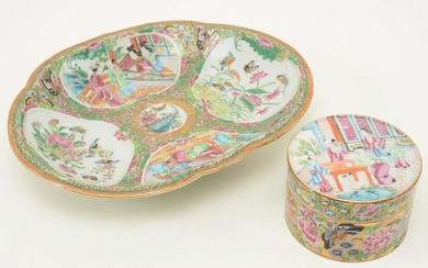 Chinese Rose Medallion Porcelain Dish and Round Box.