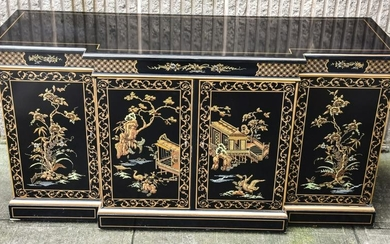 Chinoiserie Black Lacquer & Pagoda Motif Console