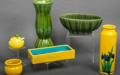 Collection of Green & Yellow Ceramic Pottery, 6