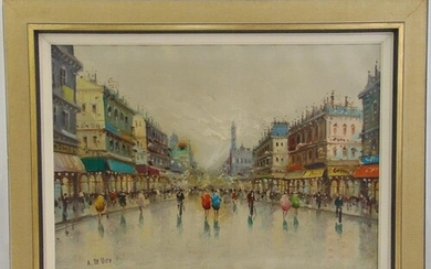 De Vity framed oil on canvas of a Parisienne street scene, s...