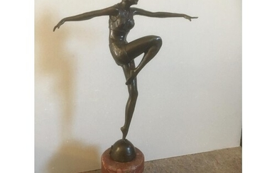 Deco style bronze lady figure on marble base 55 cms tall