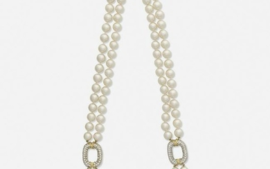 Double strand cultured pearl and diamond necklace
