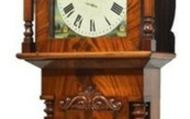 ENGLISH CLASSICAL MAHOGANY CASE CLOCK PAINTED DIAL