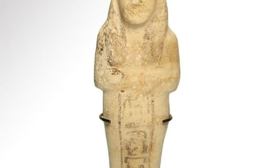 Egyptian Inscribed and Painted Alabaster Shabti, 18th