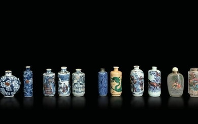 Eleven snuff bottles, China, Qing Dynasty, 18/1900