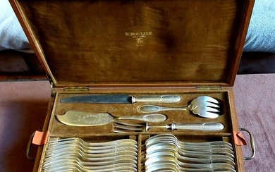 Ercuis table service for 12 people - Art Deco - Silverplate