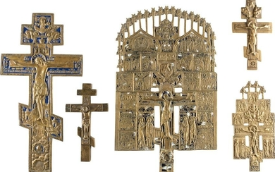 FIVE CRUCIFIXES Russian, 18th-20th century Cast in