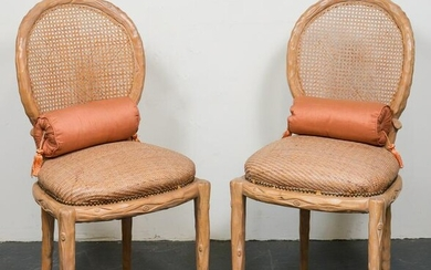 Faux Bois Caned Back Wicker Seat Side Chairs, Pr
