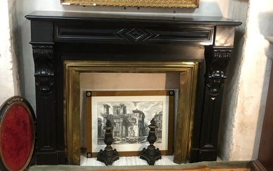 French Belgian Black Marble Fireplace