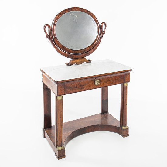 French Empire-style dressing table in mahogany, first third of the 19th Century.