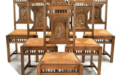 French Renaissance Style Carved Oak Side Chairs