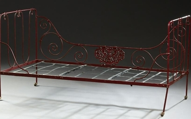 French Wrought Iron Folding Campaign Bed, late 19th c.