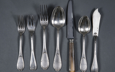 French silver cutlery set, punched, 19th century. Bow...