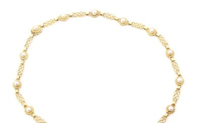 Georg Jensen: A pearl necklace set with numerous cultured pearls, mounted in 18k gold. Design no. 18. L. 42 cm.