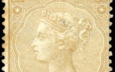 Great Britain - 9p. straw. Plate 4. Small defect but Very Fine. Signed BEHR. - Stanley Gibbons 98