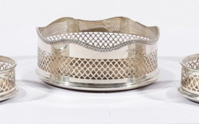 Group of Three English Sterling Silver Coasters with Timber Inserts, Hallmarked Birmingham, c.1979 by S J Rose & Son