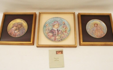 HIBEL; 3 SIGNED PLATES AND SIGNED BOOK FROM ARTIST