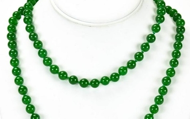 Hand Knotted Green Nephrite Jade Bead Necklace