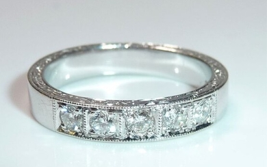 Hand crafted - 18 kt. White gold - Ring, Eternity / memory - 0.40 ct Diamonds / brilliant cut