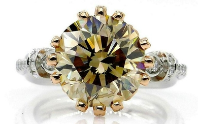 "Huge GIA 5.30ctw Natural Fancy Brown ""Cognac"" ROUND Cut"