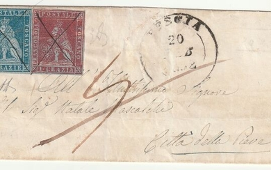 Italian Ancient States - Tuscany 1852 - 1 and 2 cr. on light blue paper on letter from Pescia (cancellation in pen Pt.5) to Città della Pieve - Sassone NN. 4b, 5b