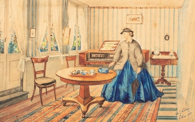 John J. Paling, American School (active late 19th century) | Interior with a standing Lady