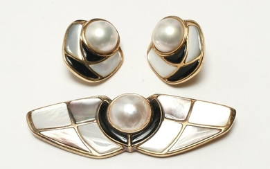 Kai-Yin Lo Silver Gilt Pearl Brooch & Earrings Set