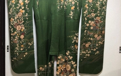 Kimono - Satin, Silk - Butterflies and cherry blossom petals scattering on a stream - Japan - Mid 20th century