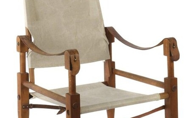 Klint, Kaare Frederiksberg 1888 - 1954 Copenhagen, was a Danish architect and furniture designer. ''Safari Chair'', A: Rud Rasmussen, Denmark, mid-20th century, teakwood with leather belt connections, seat and backrest with original fabric cover...