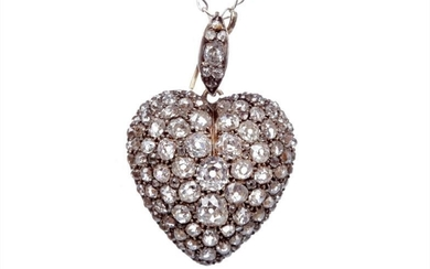 LATE NINETEENTH CENTURY DIAMOND LOCKET PENDANT, of heart shaped...