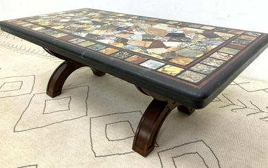 Large Specimen Marble Top Coffee Cocktail Table. Thick
