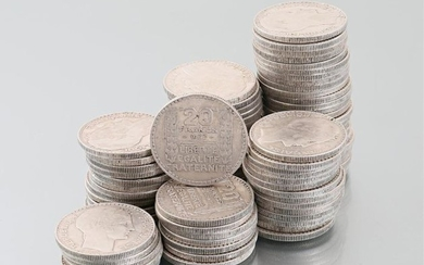 Lot of eighty one silver coins 20 Francs...