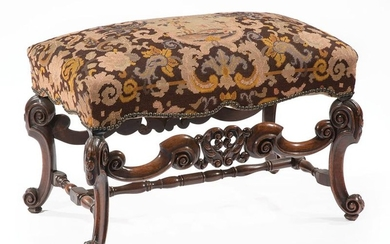 Louis XIV-Style Carved Walnut Bench
