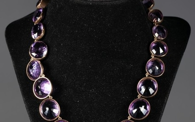 Low Karat Gold and Amethyst Riviere Necklace, 19th Century FJF2
