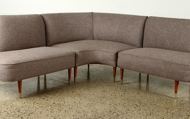 MID CENTURY MODERN CURVED UPHOLSTERED SOFA C.1960
