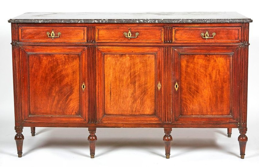 Mahogany and mahogany veneer sideboard opening with three...