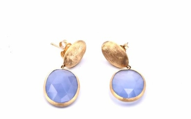 Marco Bicego 18k Yellow Gold Chalcedonay Drop Earrings