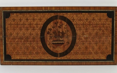 """Marquetry inlaid architectural panel, 47""""w"""