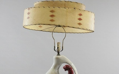 Mid-Century Modern Ceramic PANTHER LAMP with Shade